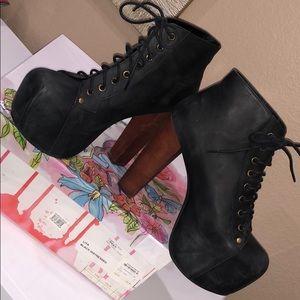 Jeffrey Campbell Lita Black Distressed booties